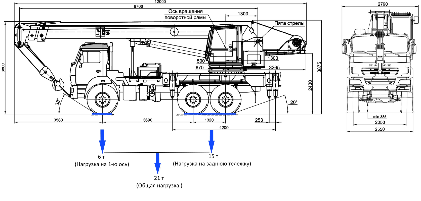 КС-55713-5 «Галичанин» стрела 21,7 м на базе автомобильного шасси KAMAZ-43118 (6х6) ЕВРО-5 – фото 2