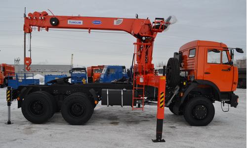 Автомобиль тягач для перевозки длинномерных грузов с кран манипулятором Kanglim 1256G2 – фото 1