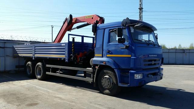 КМУ PALFINGER РК-15500А на КАМАЗ 65117-3010-48, платформа стальная, внутр.размеры 6818х2470х730 мм – фото 1