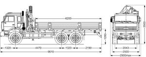 КМУ PALFINGER РК-15500А на КАМАЗ 65115-3094-50, передние опоры поворотные, платформа стальная, внутр.размеры 6112х2470х730 мм – фото 3
